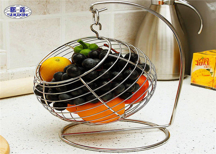 Round Wire Mesh Fruit Basket , Decorative Swayed Fruit Bowl With Hook